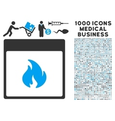 Fire calendar page icon with 1000 medical business vector