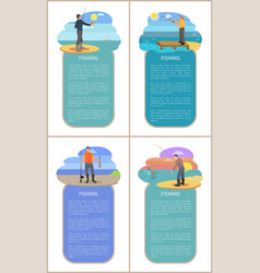 fishing men at beaches set vector image
