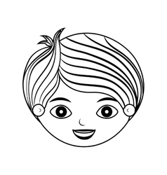 Front face child silhouette with stripes hair vector