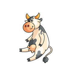 Funny smiling spotted cow sitting and listening vector