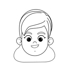 Girl face avatar profile picture black and white vector