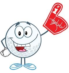 Golf ball with foam finger vector