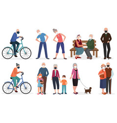 Grandparents old seniors people in medical face vector