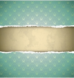 Green ornamental vintage wallpaper torn as a frame vector