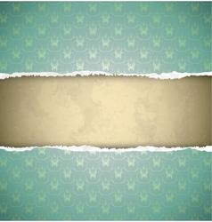 Green ornamental vintage wallpaper torn as a frame vector image