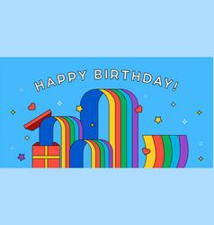 happy birthday card outline gift rainbow cartoon vector image
