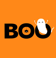 Happy halloween flying ghost spirit boo text vector
