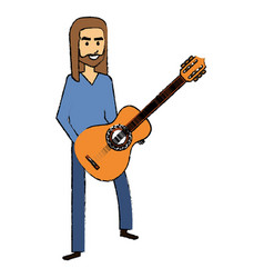 hippie man with long hair playing guitar vector image