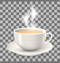 hot cup of coffee with steam on saucer vector image