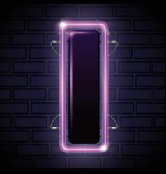 Iluminated neon label icon vector