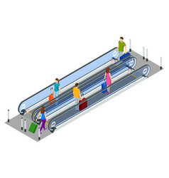 isometric escalator isolated on white background vector image