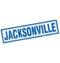 Jacksonville blue square grunge stamp on white vector
