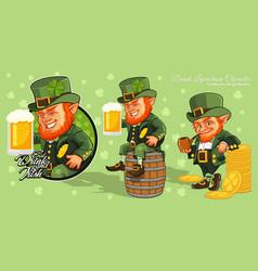 leprechaun cartoon character stpatricks day vector image