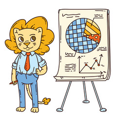 Lion teacher with a board on a tripod vector