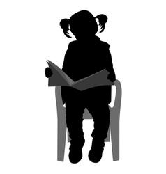 Little girl reading vector