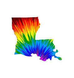 Louisiana - map is designed rainbow abstract vector