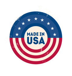 made in usa label with usa flag colors and vector image