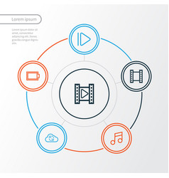 media outline icons set collection of musical vector image