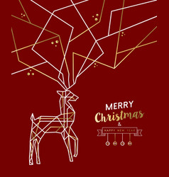 merry christmas new year deer gold outline deco vector image