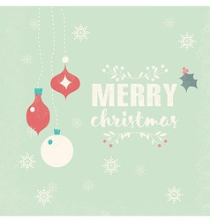 Merry christmas postcard with balls decoration vector