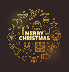 merry christmas round golden outline vector image