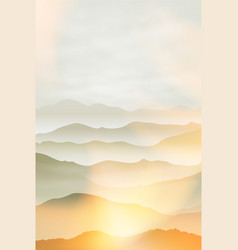 Mountains in fog summer background vector