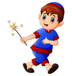 muslim kid running with holding firework on month vector image