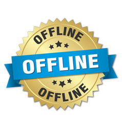 offline round isolated gold badge vector image vector image