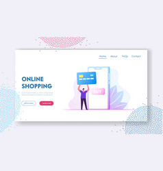 online payment website landing page man buyer vector image