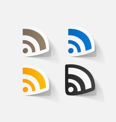 Paper clipped sticker wireless network symbol vector