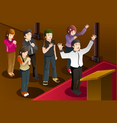 People having a group prayer vector