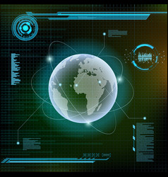 Planet earth and satellites futuristic hud vector