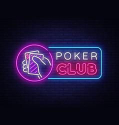poker neon sign design template casino vector image