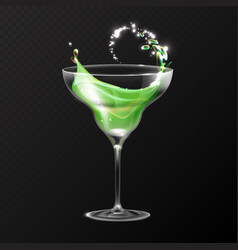Realistic cocktail margarita glass vector