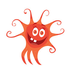 Red bacteria cartoon character icon vector