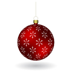 red christmass ball with snowflakes print hanging vector image