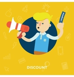 Sales and discounts man shouts into a megaphone vector image