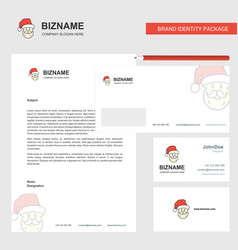 Santa clause business letterhead envelope and vector