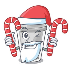 Santa with candy plastic cup on a cartoon table vector