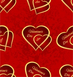 Seamless texture Valentine day two gilded hearts vector image
