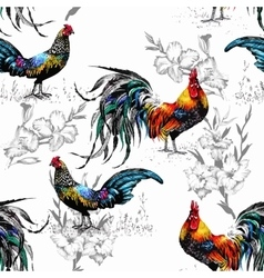 Seamless watercolor pattern with farm roosters vector