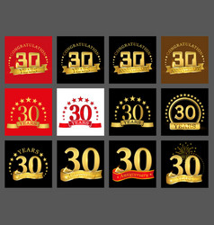 set of number thirty year 30 year celebration vector image