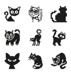 Set of pixel cat in simple minimal black style vector image