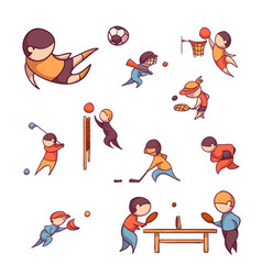 set of sportsmens vector image