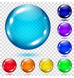 Set of transparent colored spheres vector