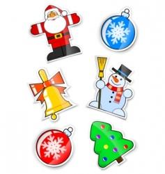 set sticker for Christmas vector image