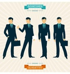 Silhouettes businessmen in retro style vector