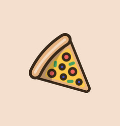 slice of pizza with meat cheese and olives vector image