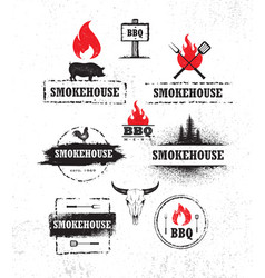 smokehouse barbecue meat on fire menu artisanal vector image
