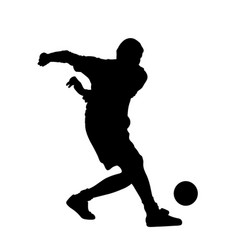 soccer player holds the ball silhouette vector image